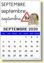 Calendrier Septembre 2020 Septembre 2019.Divers